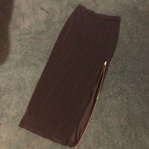 Ann Taylor Black Maxi Skirt with Gold Zipper Slit